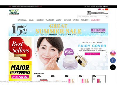 フィリピン・BEST BUY WORLDにてEYELASH SENSITIVEとFairy Coverの販売開始